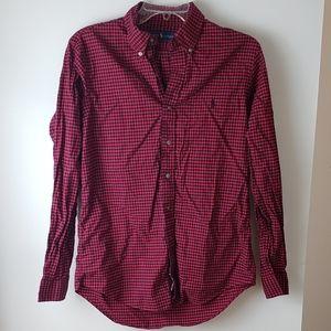 Ralph Lauren red black plaid flannel button up